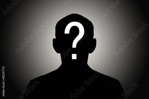 Obraz na płótnie silhouette male on gradient background with white question mark