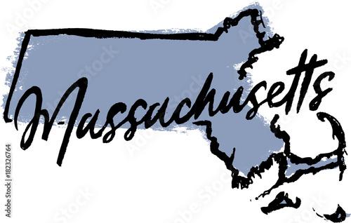 Fotografia Hand Drawn Massachusetts State Design