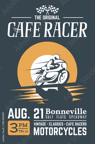 Valokuvatapetti Classic cafe racer motorcycle poster for printing with grunge texture