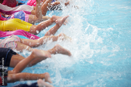 group of children at swimming pool