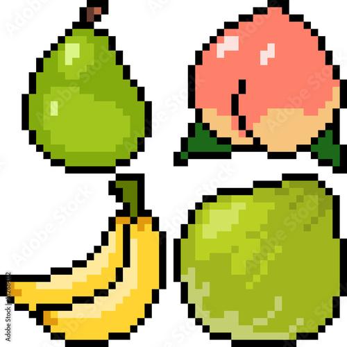 vector pixel art fruit