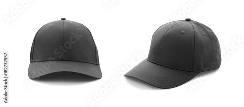 Fotografie, Obraz Baseball cap black templates, front views isolated on white background