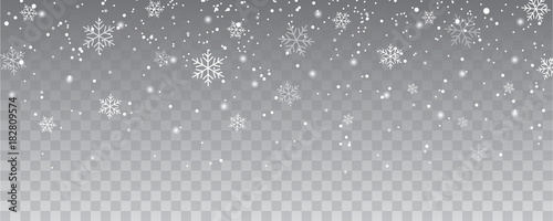 Canvas Print Snowflakes falling christmas decoration isolated background