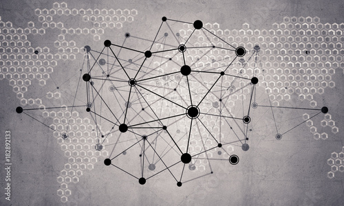 Lines and dots as networking idea drawn on cement background