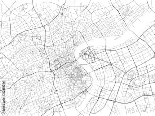 Obraz na plátně Strade di Shanghai, mappa della città, Cina, strade