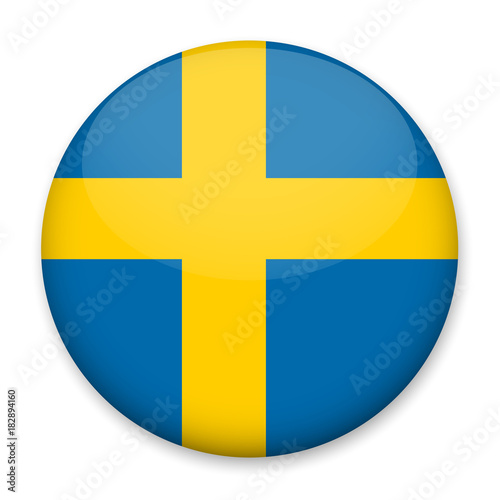 Wallpaper Mural Flag of Sweden in the form of a round button with a light glare and a shadow