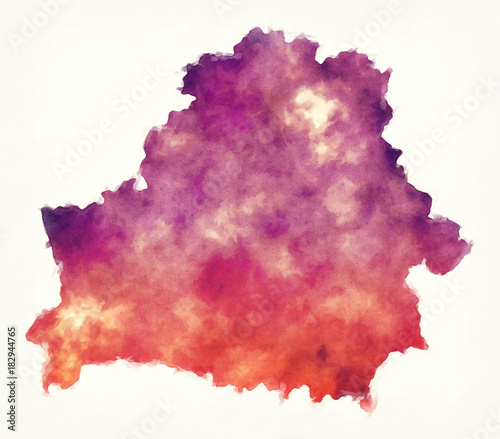 Photo Belarus watercolor map in front of a white background