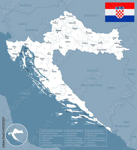 Canvas Print Croatia - map and flag Detailed Vector Illustration
