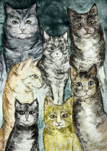 Zbierać różnego rodzaju nieociosanych koty z turkusowym tłem. Technika tarcia daje efekt miękkiego ogniska ze względu na zmienioną szorstkość powierzchni papieru.