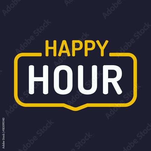 Fotografie, Tablou Happy hour. Vector badge illustration on dark background.
