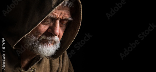 Canvastavla Mönch im dunkeln