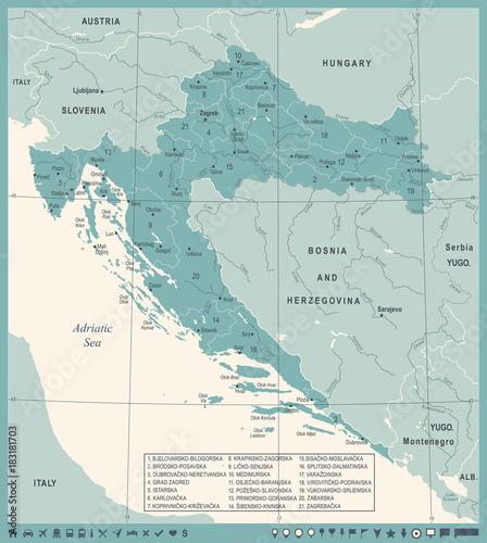 Photo Croatia Map - Vintage Detailed Vector Illustration