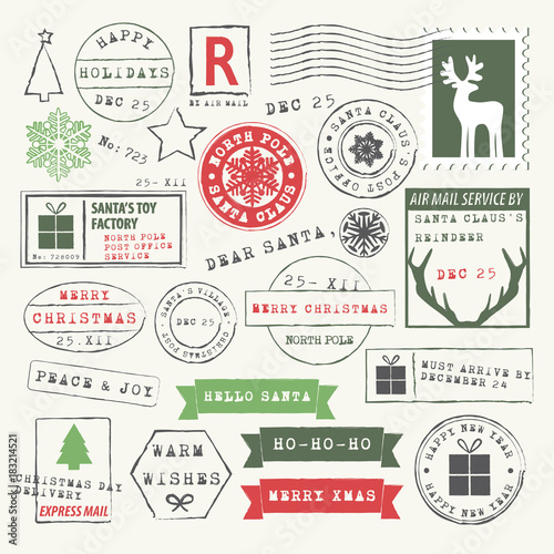 Stampa su Tela Christmas rubber stamp collection