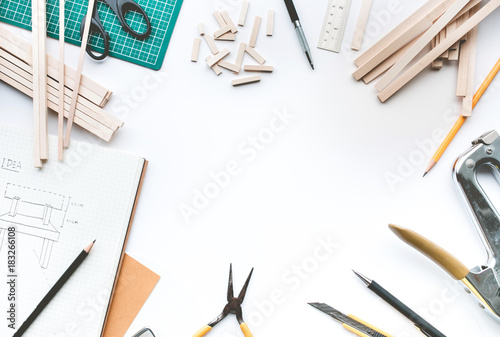 Worktable with balsa wood material.Diy,design project,invention concept .