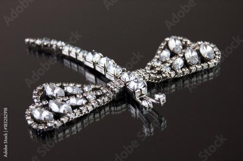 Obraz na płótnie dragonfly brooch with white clarity stones on black background
