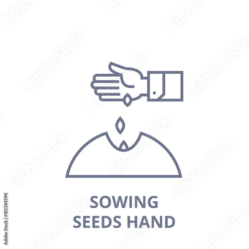 Canvas Print sowing seeds hand line icon, outline sign, linear symbol, flat vector illustrati