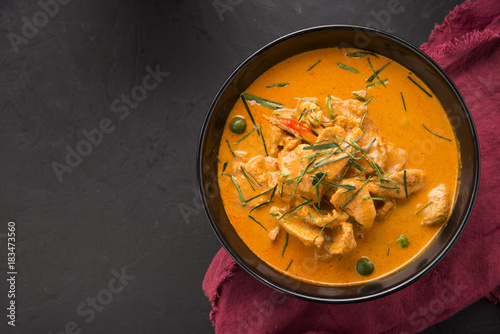 Valokuva Thai curry red soup,Thailand tradition red curry with beef,pork or chicken menu in thai name is panaeng