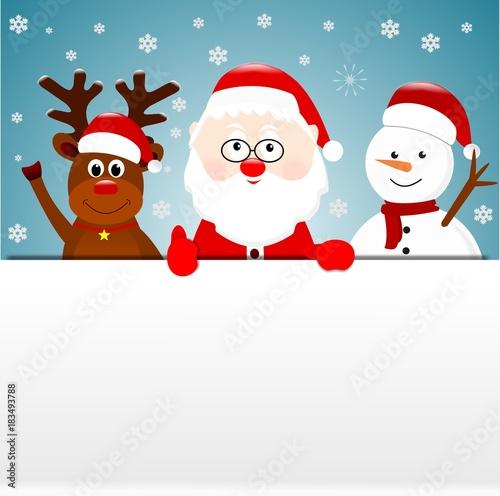Święty Mikołaj renifery i balwan, kartka świąteczna