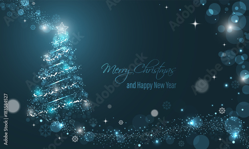 Fotografie, Tablou Iluminated Christmas tree with glitter, stars, snowflakes and transparent circles on a blue winter glowing vector background