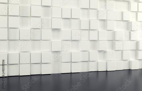 Fototapeta premium Abstrakcjonistyczna tło ściana biali sześciany i czarna podłoga. Renderowania 3d