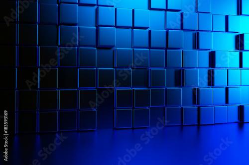 Fototapeta premium Abstrakcjonistyczna tło ściana błękitni sześciany i błękitna podłoga. Renderowania 3d