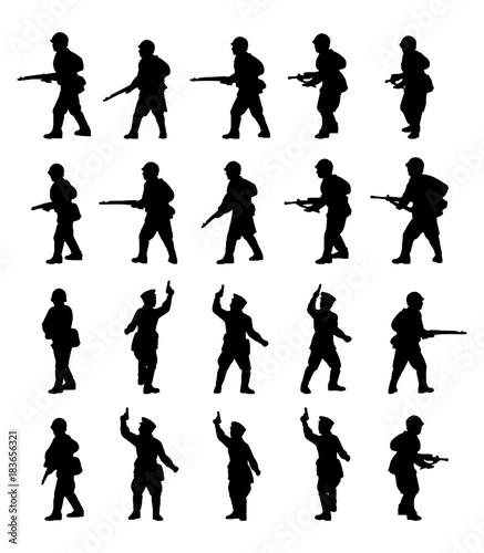 Obraz na plátne Infantry. Soldiers silhouettes set