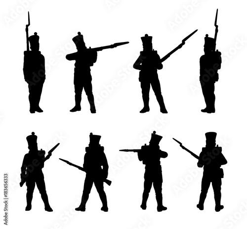 Obraz na plátně French Line infantry. Soldiers silhouettes set
