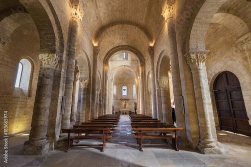 Interior of famous romanesque church of Saint Martin in Fromista, Palencia, Spain.