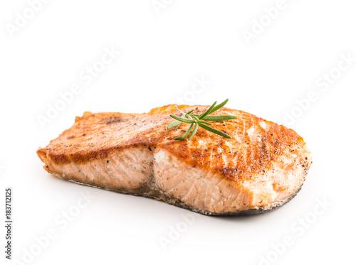 Salmon. Salmon roast steak isolated on white background