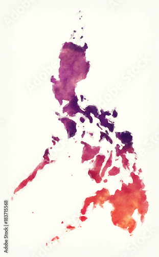 Photo Philippines watercolor map in front of a white background