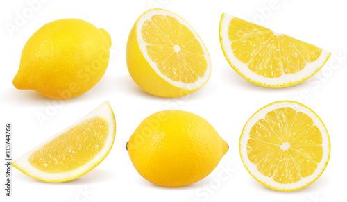 Obraz na plátně Lemon isolated on white background. Collection.