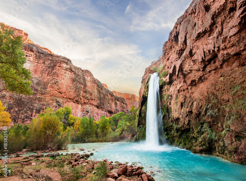 Beautiful Blue Waterfall coming out of canyon