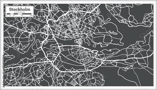 Canvas Print Stockholm Sweden Map in Retro Style.