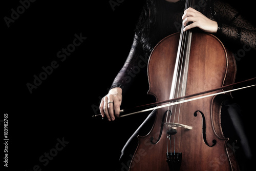 Leinwand Poster Cello player. Cellist hands playing cello