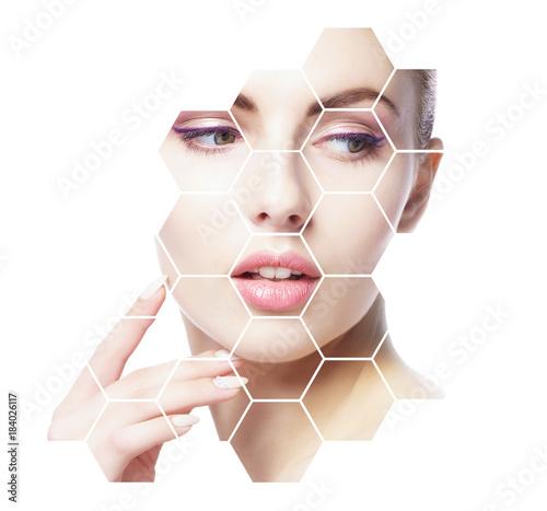 Obrazy do salonu Portret młodej, zdrowej i pięknej dziewczyny  Koncepcja chirurgii plastycznej, liftingu skóry, spa, kosmetyków i medycyny