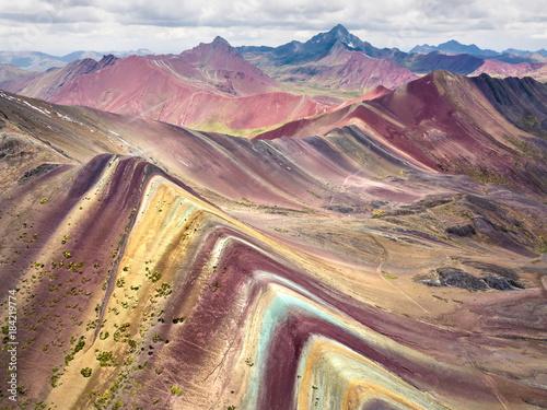Rainbow mountain in Peru, aerial view