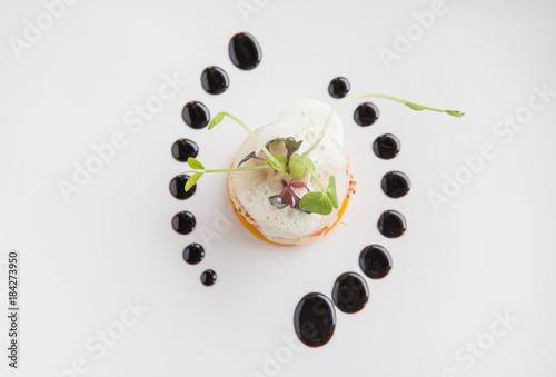 Canvas Print Haute high end cuisine gourmet appetizer shrimp, pear, pumpkin with butter foam