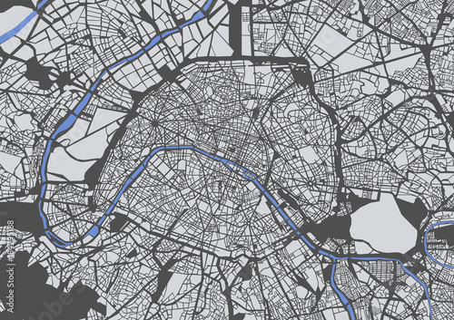 Wallpaper Mural map of the city of Paris, France