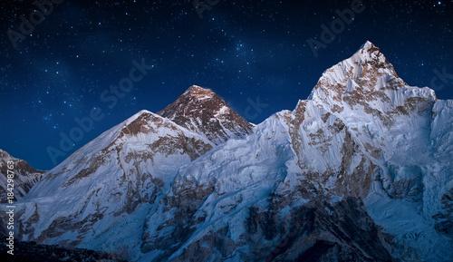 Stampa su Tela Panoramic view of Mount Everest and Mount Nuptse taken after sunset,Himalayas