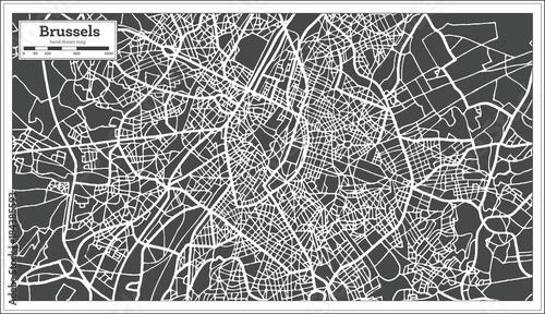 Fotografie, Obraz Brussels Belgium Map in Retro Style.