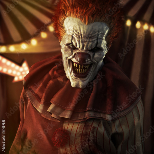Fotomural Frightening Evil looking clown posing in front of a circus tent