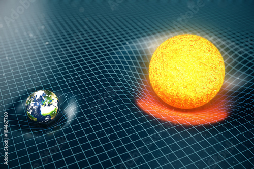 Tablou Canvas 3D illustration Earth's and Sun gravity bends space around it