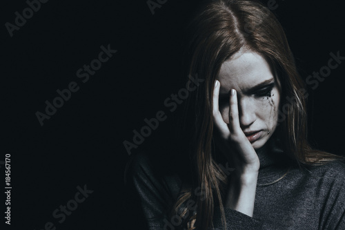 Fotografie, Obraz Crying young girl with depression