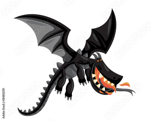Obraz na plátně Ancient Cute Dragon Illustration Character, Suitable for Children Product, Print, Logo, Game Asset, And Other Children Related Occasion