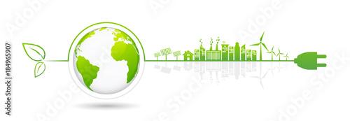 Stampa su Tela Banner design elements for sustainable energy development, vector illustration