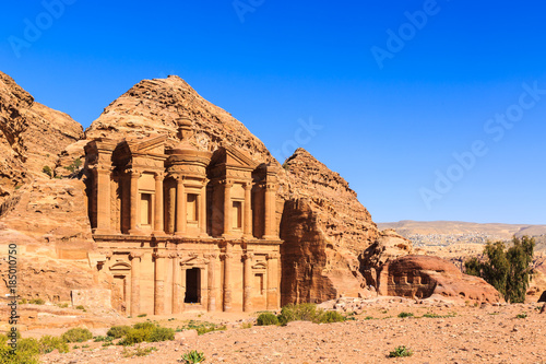 The Monastery Ad Deir monumental building carved out of rock in the ancient city of Petra