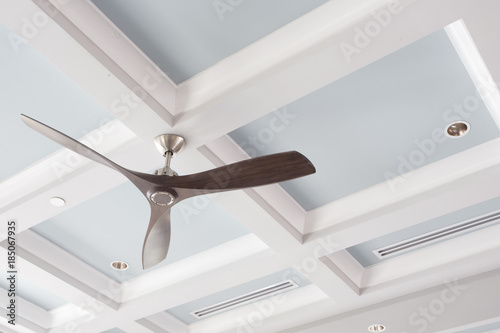 Canvas Print Ceiling Fan in front of the Coffered Ceiling