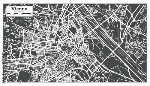 Fotografia Vienna Austria Map in Retro Style.