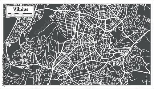 Fotografia Vilnius Lithuania Map in Retro Style.