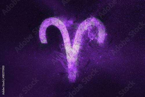 Aries Zodiac Sign. Night sky Abstract background